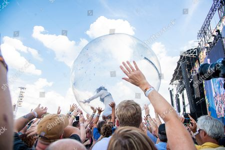Stock Photo of Wayne Coyne of The Flaming Lips performs at Bourbon and Beyond Music Festival at Kentucky Exposition Center, in Louisville, Ky