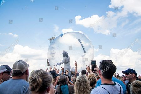 Stock Image of Wayne Coyne of The Flaming Lips performs at Bourbon and Beyond Music Festival at Kentucky Exposition Center, in Louisville, Ky