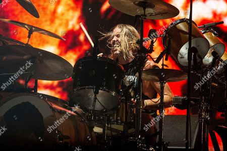 Taylor Hawkins of the Foo Fighters performs at Bourbon and Beyond Music Festival at Kentucky Exposition Center, in Louisville, Ky