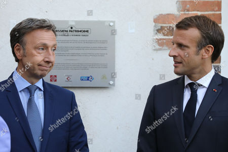 French President Emmanuel Macron (R) and French TV host and Macron's cultural special adviser Stephane Bern visit the Chateau de By in Thomery, outside Paris, France, 20 September 2019. In support of the European Heritage Days, Emmanuel and Brigitte Macron visited the residence of the painter Rosa Bonheur on September 20, one of the emblematic projects that receive financial support from the heritage mission. The French Ministry of Culture has selected 18 emblematic sites to profit from the 'Loto du patrimoine' draw.