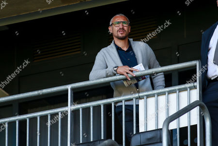 Henrik Larsson, watches the game. MK Dons v Southend United FC.