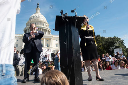 Stock Picture of Rep. Kathy Castor, D-Fla., right, speaks as she is joined on stage by House Judiciary Committee Chairman Jerry Nadler, D-N.Y., during the Climate Strike, in Washington