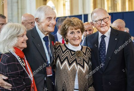 Stock Image of Princess Margriet of the Netherlands (2-R) and Professor Pieter van Vollenhoven (R) attend the 75th anniversary of the Battle of Arnhem at the Eusebius Church in Arnhem, the Netherlands, 20 September 2019.