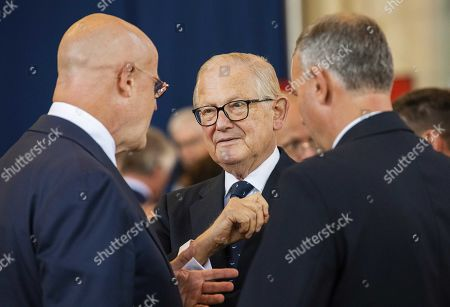 Prof. Dr. Pieter van Vollenhoven (C) and Dutch Minister of Justice and Security Ferdinand Grapperhaus (L) attend the 75th anniversary of the Battle of Arnhem at the Eusebius Church in Arnhem, the Netherlands, 20 September 2019.
