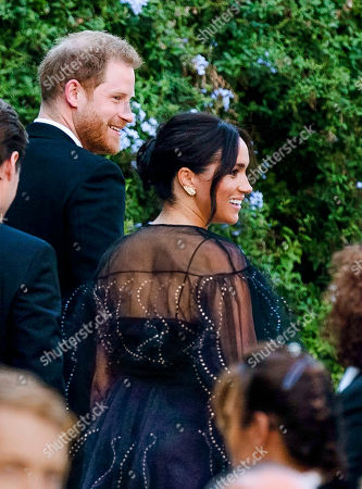 Stock Picture of Britain's Prince Harry and his wife Meghan, Duchess of Sussex arrive to the wedding of Misha Nonoo and Michael Hess in Rome, . Britain's Prince Harry and his wife Meghan, Duchess of Sussex will attend the wedding of their friends before leaving on an official trip to Africa