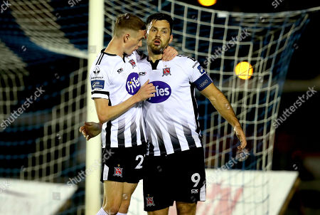 Waterford vs Dundalk. Daniel Kelly of Dundalk celebrates scoring the first goal of the game with Pat Hoban