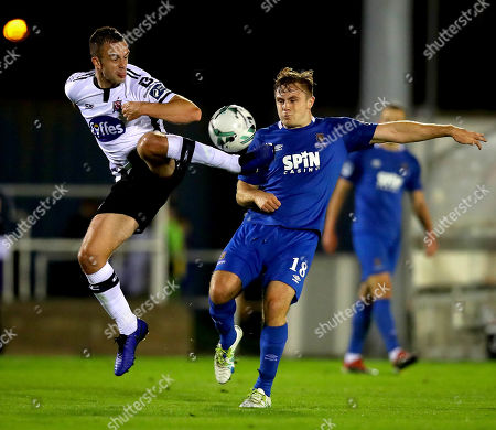 Waterford vs Dundalk. Waterford's Georgie Poynton and Robbie Benson of Dundalk