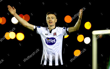 Waterford vs Dundalk. Daniel Kelly of Dundalk celebrates scoring the first goal of the game