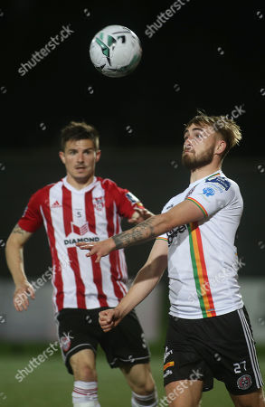 Derry City vs Bohemians. Bohemian's Luke Wade Slater and Derry's Ciaran Coll