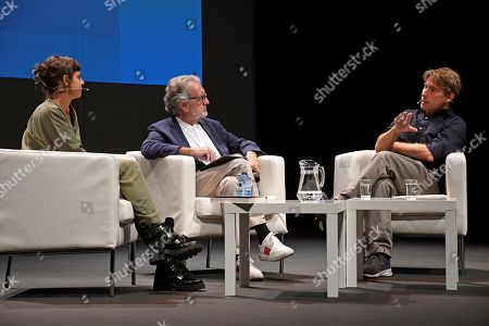 Mexican writer Valeria Luiselli (L) and journalists Aurelio Martin (C) and Javier del Pino (R) participate in the Hay Festival in Segovia, Spain, 20 September 2019. The art festival runs from 19 to 22 September.