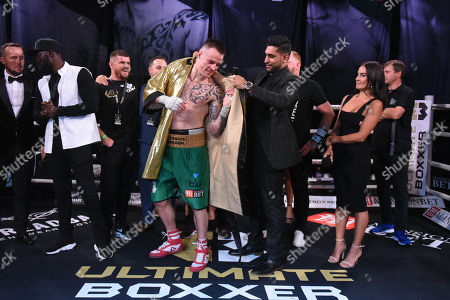 Stock Picture of Steven Donnelly (green shorts) defeats Sean Robinson at Indigo at the O2 London on 20th September 2019