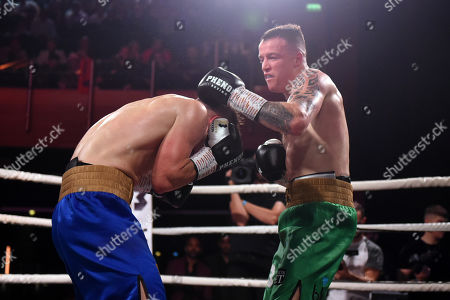Stock Image of Steven Donnelly (green shorts) defeats Sean Robinson at Indigo at the O2 London on 20th September 2019