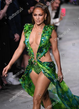 US actress Jennifer Lopez presents a creation by Versace during the Milan Fashion Week, in Milan, Italy, 20 September 2019. Spring-Summer 2020 women's collections are presented at the Milano Moda Donna from 17 to 23 September.