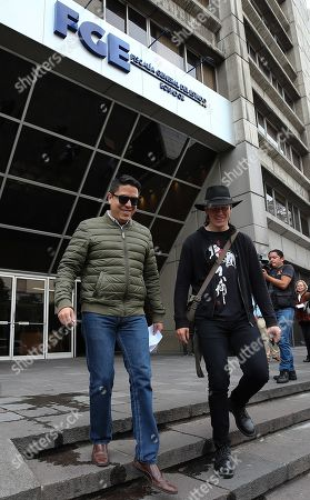 Stock Image of Swedish computer scientist Ola Bini (R) and his lawyer Catlos Soria leave the Prosecutor Office, in Quito, Ecuador, 20 September 2019. Bini, a friend of Julian Assange and accused of meddling in computer systems in Ecuador, alleged that he did 'exactly the same' as the firm that discovered the leaking of the data of millions of Ecuadorians, and reproached that he is now prosecuted for it.