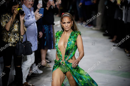 Jennifer Lopez wears a creation as part of the Versace Spring-Summer 2020 collection, unveiled during the fashion week, in Milan, Italy
