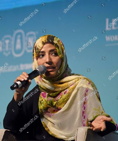 Yemeni, Tawakkol Karman (R), Nobel Peace Prize in 2011, speaks during the plenary 'The Responsibility of Global Media in the preservation of Peace', in the framework of the XVII World Summit of the Nobel Prizes, in the city of Merida in the state of Yucatan, Mexico, 20 September 2019. Opinion leaders and activists advocated this Friday in the Mexican city of Mérida for the protection of media workers, for their labor rights and for consuming independent journalism.