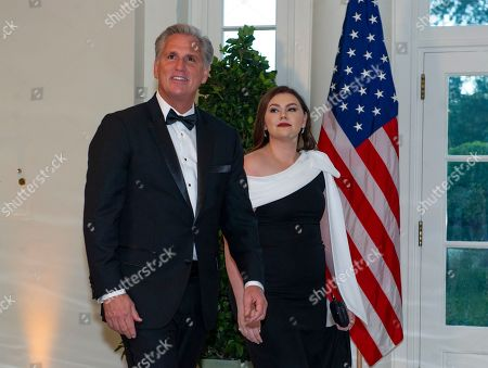 United States House Minority Leader Kevin McCarthy (L, Republican of California) and Meghan McCarthy (R) arrive for the State Dinner hosted by United States President Donald J. Trump and First lady Melania Trump in honor of Prime Minister Scott Morrison of Australia and his wife, Jenny Morrison, at the White House in Washington, DC, USA, 20 September 2019.