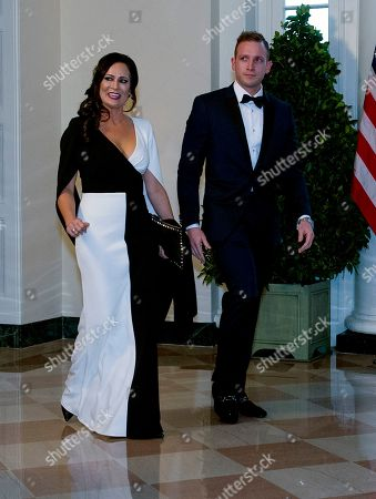 Stock Photo of White House Press Secretary Stephanie Grisham (L) and Max Miller (R) arrive for the State Dinner hosted by United States President Donald J. Trump and First lady Melania Trump in honor of Prime Minister Scott Morrison of Australia and his wife, Jenny Morrison, at the White House in Washington, DC, USA, 20 September 2019.