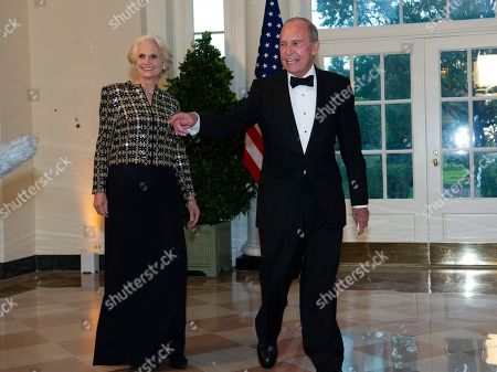 Stock Picture of Director of the National Economic Council Larry Kudlow (R) and Judith Kudlow (L) arrive for the State Dinner hosted by United States President Donald J. Trump and First lady Melania Trump in honor of Prime Minister Scott Morrison of Australia and his wife, Jenny Morrison, at the White House in Washington, DC, USA, 20 September 2019.