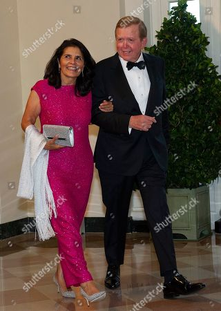 Stock Image of US television commentator Lou Dobbs (R) and Debi Dobbs (L) arrive for the State Dinner hosted by United States President Donald J. Trump and First lady Melania Trump in honor of Prime Minister Scott Morrison of Australia and his wife, Jenny Morrison, at the White House in Washington, DC, USA, 20 September 2019.