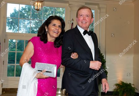 Stock Photo of US television commentator Lou Dobbs (R) and Debi Dobbs (L) arrive for the State Dinner hosted by United States President Donald J. Trump and First lady Melania Trump in honor of Prime Minister Scott Morrison of Australia and his wife, Jenny Morrison, at the White House in Washington, DC, USA, 20 September 2019.