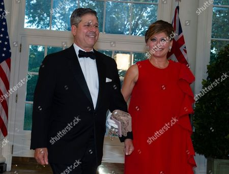 US television journalist Maria Bartiromo (R) and Jonathan Steinberg (L) arrive for the State Dinner hosted by United States President Donald J. Trump and First lady Melania Trump in honor of Prime Minister Scott Morrison of Australia and his wife, Jenny Morrison, at the White House in Washington, DC, USA, 20 September 2019.