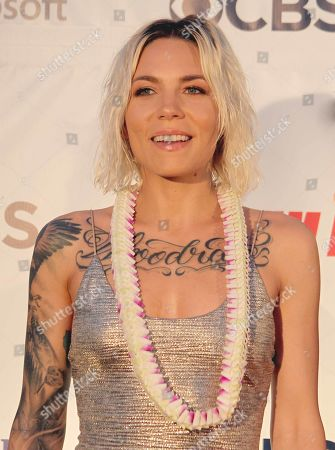 Stock Picture of Skylar Grey during the Hawaii Five-O and Magnum P.I. Sunset On The Beach event on Waikiki Beach in Honolulu, Hawaii - Michael Sullivan/CSM