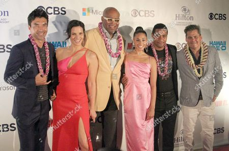 Stock Image of Left to right, Ian Anthony Dale, Katrina Law, Chi McBride, Meaghan Rath, Beulah Koale and Executive Producer Peter M. Lenkov during the Hawaii Five-O and Magnum P.I. Sunset On The Beach event on Waikiki Beach in Honolulu, Hawaii - Michael Sullivan/CSM