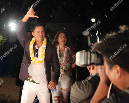 Stock Photo of Jay Hernandez (Thomas Magnum) arrives on the red carpet during the Hawaii Five-O and Magnum P.I. Sunset On The Beach event on Waikiki Beach in Honolulu, Hawaii - Michael Sullivan/CSM