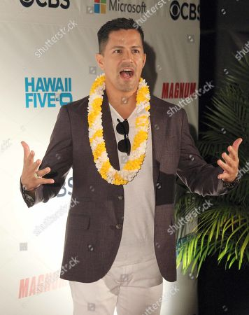Stock Picture of Jay Hernandez (Thomas Magnum) during the Hawaii Five-O and Magnum P.I. Sunset On The Beach event on Waikiki Beach in Honolulu, Hawaii - Michael Sullivan/CSM