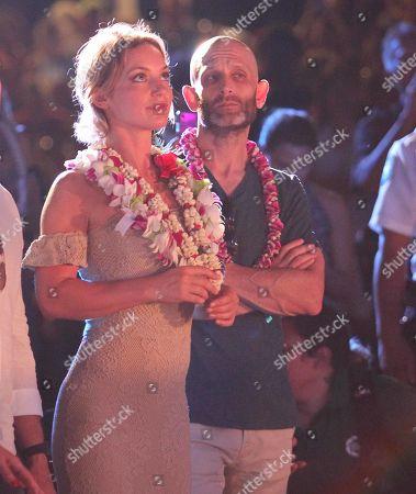 Perdita Weeks and Eric Guggenheim enjoy the music of Train during the Hawaii Five-O and Magnum P.I. Sunset On The Beach event on Waikiki Beach in Honolulu, Hawaii - Michael Sullivan/CSM