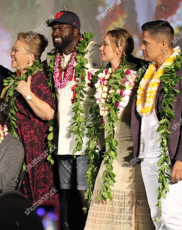 Amy Hill, Stephen Hill, Perdita Weeks and Jay Hernandez during the Hawaii Five-O and Magnum P.I. Sunset On The Beach event on Waikiki Beach in Honolulu, Hawaii - Michael Sullivan/CSM