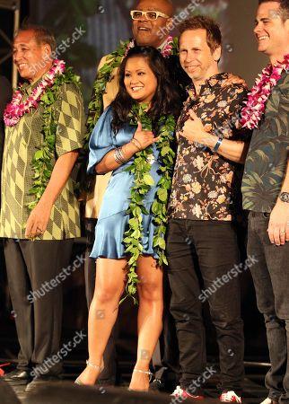 Dennis Chun, Chi McBride, Kimee Balmilero, Matt Wheeler and David Wolkove during the Hawaii Five-O and Magnum P.I. Sunset On The Beach event on Waikiki Beach in Honolulu, Hawaii - Michael Sullivan/CSM