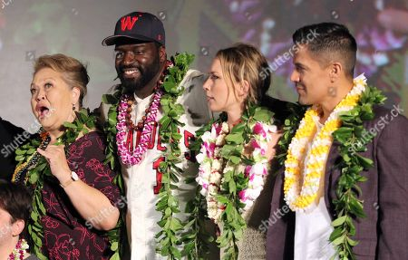 Stock Image of Amy Hill, Stephen Hill, Perdita Weeks and Jay Hernandez during the Hawaii Five-O and Magnum P.I. Sunset On The Beach event on Waikiki Beach in Honolulu, Hawaii - Michael Sullivan/CSM