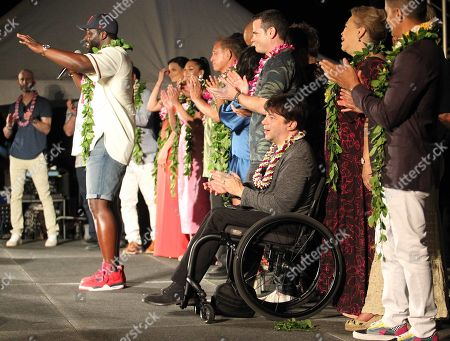 Stephen Hill speaks in front of the rest of the casts during the Hawaii Five-O and Magnum P.I. Sunset On The Beach event on Waikiki Beach in Honolulu, Hawaii - Michael Sullivan/CSM