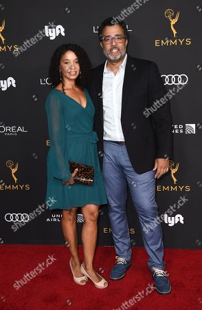 Stock Image of Marivel Mendez, Anthony Mendez. Marivel Mendez, left, and Anthony Mendez arrive at the 2019 Performers Nominee Reception presented by the Television Academy at the Wallis Annenberg Center for the Performing Arts, in Beverly Hills, Calif
