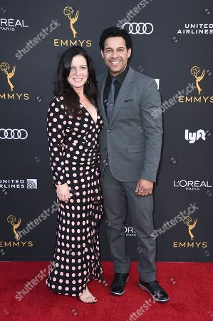 Jon Huertas, Nicole Huertas. Jon Huertas, right, and Nicole Huertas arrive at the 2019 Performers Nominee Reception presented by the Television Academy at the Wallis Annenberg Center for the Performing Arts, in Beverly Hills, Calif