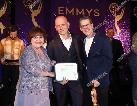 Patrika Darbo, Anthony Carrigan, Bob Bergen. Performer Peer Group Governors Patrika Darbo, left, and Bob Bergen, right, pose with Emmy nominee Anthony Carrigan, center, at the 2019 Performers Nominee Reception presented by the Television Academy at the Wallis Annenberg Center for the Performing Arts, in Beverly Hills, Calif