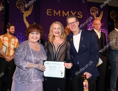 Patrika Darbo, Patricia Clarkson, Bob Bergen. Performer Peer Group Governors Patrika Darbo, left, and Bob Bergen, right, pose with Emmy nominee Patricia Clarkson, center, at the 2019 Performers Nominee Reception presented by the Television Academy at the Wallis Annenberg Center for the Performing Arts, in Beverly Hills, Calif
