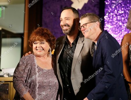 Patrika Darbo, Tony Hale, Bob Bergen. Performer Peer Group Governors Patrika Darbo, left, and Bob Bergen, right, pose with Emmy nominee Tony Hale, center, at the 2019 Performers Nominee Reception presented by the Television Academy at the Wallis Annenberg Center for the Performing Arts, in Beverly Hills, Calif