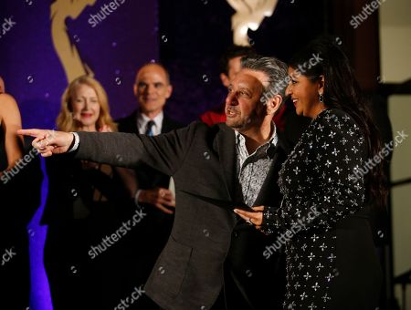 Stock Picture of Punam Patel, Frank Scherma. Television Academy Chairman and CEO Frank Scherma, left, poses with Emmy nominee Punam Patel at the 2019 Performers Nominee Reception attends the 2019 Performers Nominee Reception presented by the Television Academy at the Wallis Annenberg Center for the Performing Arts, in Beverly Hills, Calif