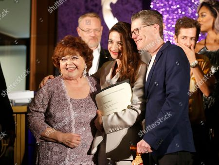 Patrika Darbo, Marin Hinkle, Bob Bergen. Performer Peer Group Governors Patrika Darbo, left, and Bob Bergen, right, pose with Emmy nominee Marin Hinkle, center, at the 2019 Performers Nominee Reception presented by the Television Academy at the Wallis Annenberg Center for the Performing Arts, in Beverly Hills, Calif
