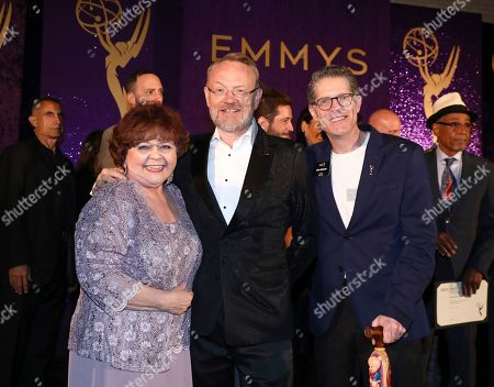 Patrika Darbo, Jared Harris, Bob Bergen. Performer Peer Group Governors Patrika Darbo, left, and Bob Bergen, right, pose with Emmy nominee Jared Harris, center, at the 2019 Performers Nominee Reception presented by the Television Academy at the Wallis Annenberg Center for the Performing Arts, in Beverly Hills, Calif