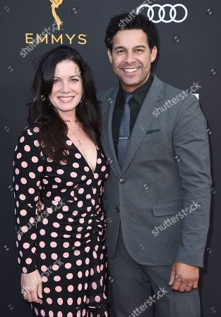 Nicole Huertas, Jon Huertas. Jon Huertas, right, and Nicole Huertas arrive at the 2019 Performers Nominee Reception presented by the Television Academy at the Wallis Annenberg Center for the Performing Arts, in Beverly Hills, Calif