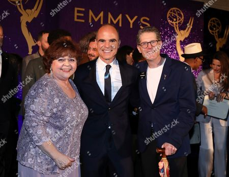 Patrika Darbo, Michael Kelly, Bob Bergen. Performer Peer Group Governors Patrika Darbo, left, and Bob Bergen, right, pose with Emmy nominee Michael Kelly, center, at the 2019 Performers Nominee Reception presented by the Television Academy at the Wallis Annenberg Center for the Performing Arts, in Beverly Hills, Calif