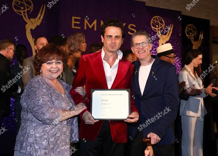 Patrika Darbo, Luke Kirby, Bob Bergen. Performer Peer Group Governors Patrika Darbo, left, and Bob Bergen, right, pose with Emmy nominee Luke Kirby, center, at the 2019 Performers Nominee Reception presented by the Television Academy at the Wallis Annenberg Center for the Performing Arts, in Beverly Hills, Calif