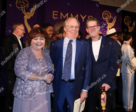 Patrika Darbo, Micahel McKean, Bob Bergen. Performer Peer Group Governors Patrika Darbo, left, and Bob Bergen, right, pose with Emmy nominee Michael McKean, center, at the 2019 Performers Nominee Reception presented by the Television Academy at the Wallis Annenberg Center for the Performing Arts, in Beverly Hills, Calif