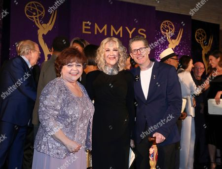 Patrika Darbo, Catherine O'Hara, Bob Bergen. Performer Peer Group Governors Patrika Darbo, left, and Bob Bergen, right, pose with Emmy nominee Catherine O'Hara, center, at the 2019 Performers Nominee Reception presented by the Television Academy at the Wallis Annenberg Center for the Performing Arts, in Beverly Hills, Calif