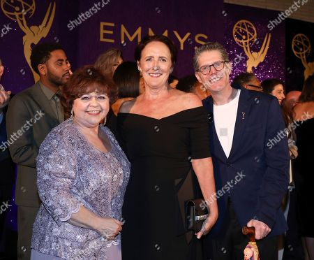 Patrika Darbo, Fiona Shaw, Bob Bergen. Performer Peer Group Governors Patrika Darbo, left, and Bob Bergen, right, pose with Emmy nominee Fiona Shaw, center, at the 2019 Performers Nominee Reception presented by the Television Academy at the Wallis Annenberg Center for the Performing Arts, in Beverly Hills, Calif