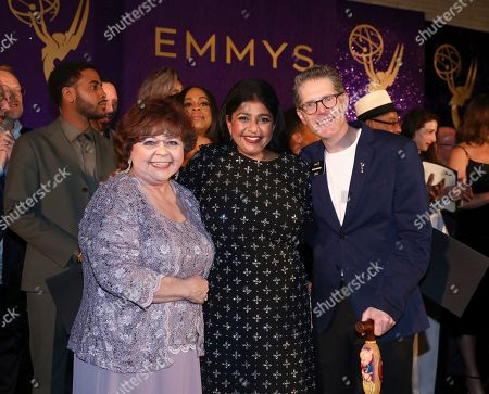 Patrika Darbo, Punam Patel, Bob Bergen. Performer Peer Group Governors Patrika Darbo, left, and Bob Bergen, right, pose with Emmy nominee Punam Patel, center, at the 2019 Performers Nominee Reception presented by the Television Academy at the Wallis Annenberg Center for the Performing Arts, in Beverly Hills, Calif